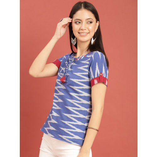 Taavi Women Blue & White Woven Design Ikat Top With Mirror Work & Tie-Up Detailing