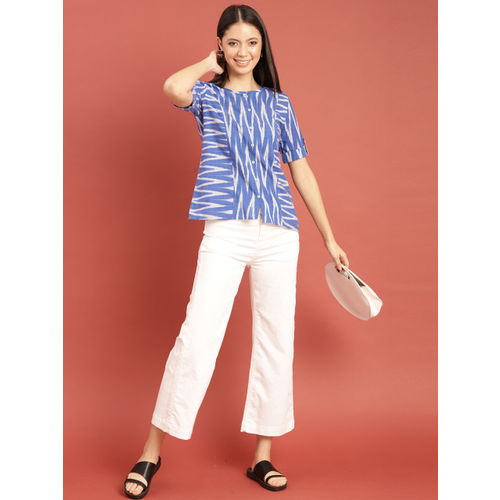 Taavi Women Blue & White Woven Design Ikat Top with a Button Placket & Roll-Up Sleeves