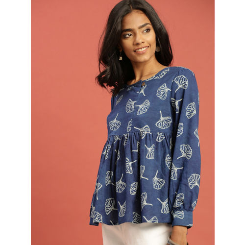 Taavi Women Blue Indigo A-Line Top with Gathers