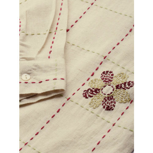 Taavi Women Off-White Embroidered Kantha Shirt-Style Top with Pocket