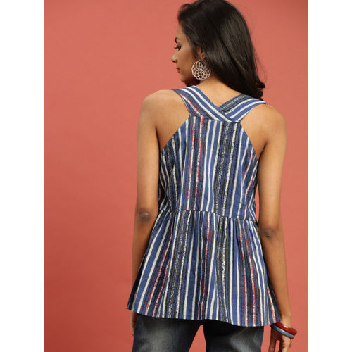 Taavi Women Blue Printed Indigo Hand Block Print A-line Top with Pocket and Tassles