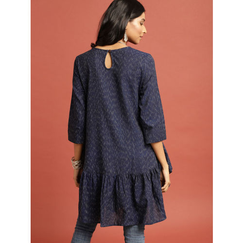 Taavi Women Navy Ikat Woven Design A-Line Flared Longline Dress with Gathers