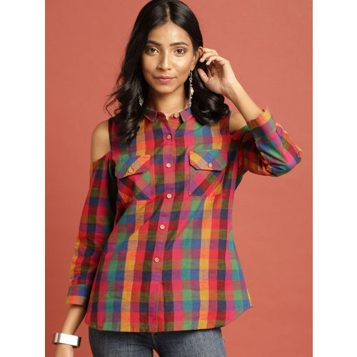 Taavi Women Multicoloured South Cotton Woven Legacy Checked Shirt Style Top with Pockets