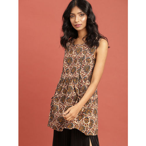 Taavi Women Beige & Blue Kalamkari Hand Block Print Top with Pockets