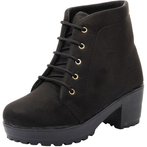 Jking Footwear Casual Party Formal Comfortable Suede Leather 2.5inch Black Block Heel Boots for Women & Girls Boots For Women(Black)