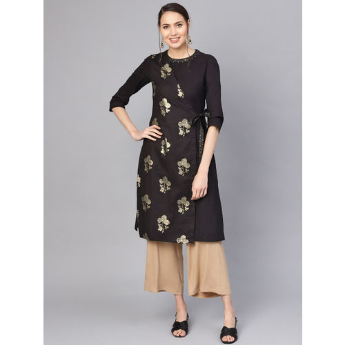 Biba Women Black & Golden Printed Straight Wrap Kurta