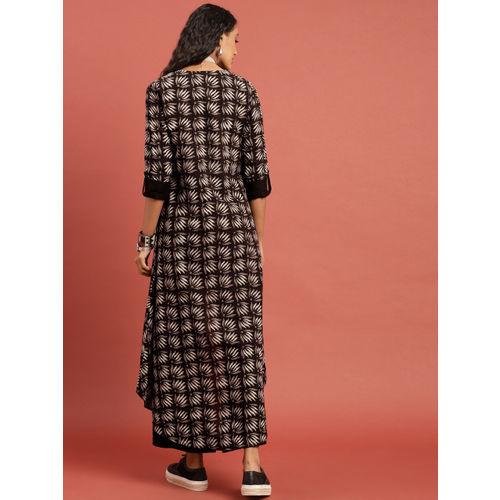 Taavi Women Coffee Brown Hand Block Print Legacy Top with Trousers & Shrug