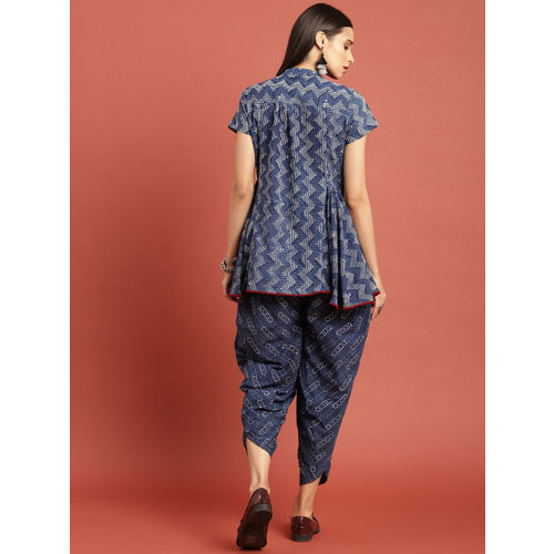Taavi Women Blue Indigo Hand Block Print A-Line Top with Dhoti Pants