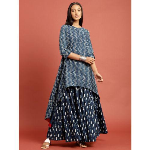Taavi Women Indigo Block Printed High-Low A-Line Kurta with Skirt
