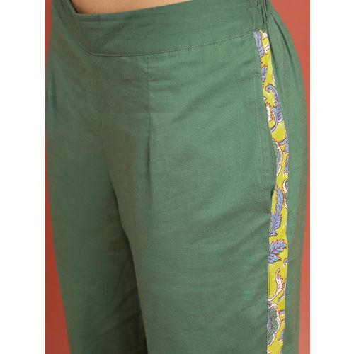 Taavi Women Green Bagaru Hand Block Print Kurta With Trousers