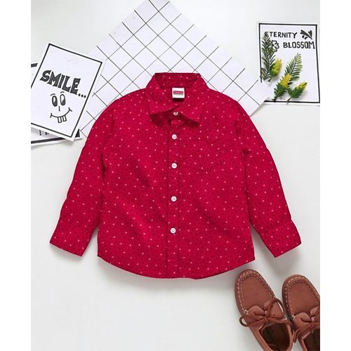 Babyhug Full Sleeve Shirt Allover Print - Red