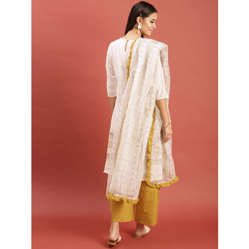 Taavi Women White & Mustard Yellow Hand Block Print Legacy Kurta with Trousers & Dupatta