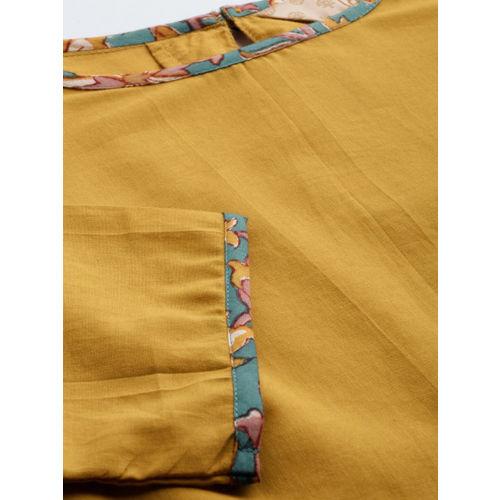 Taavi Women Mustard Yellow & Green Bagru Hand Block Print Kurta With Palazzos & Dupatta