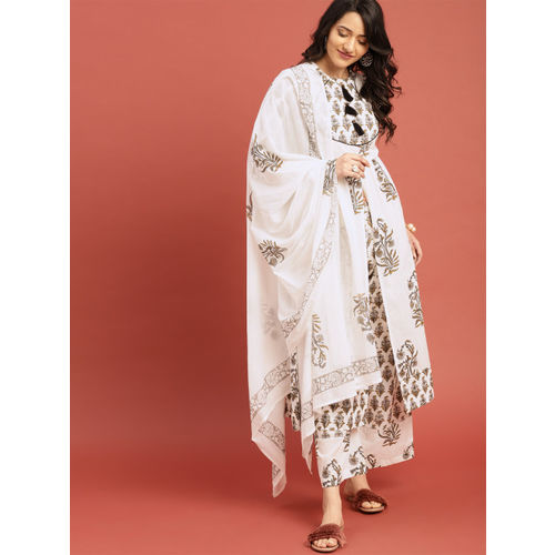Taavi Women White & Grey Block Print Legacy A-Line Tasselled Kurta with Palazzos & Dupatta