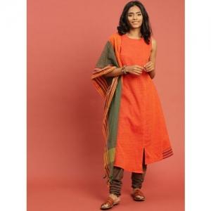 Taavi Women Orange & Green Woven Legacy Front Slit Kurta Set with Dupatta