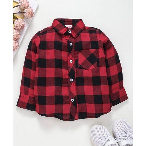 Babyhug Shirt With Folded Sleeves Checks Print - Red
