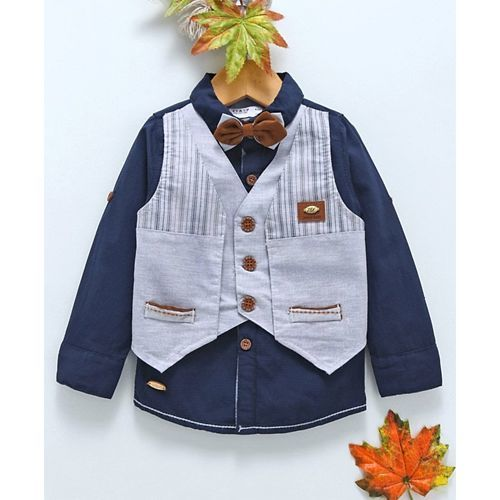 ZY & UP Full Sleeves Shirt With Striped Waistcoat & Bow - Navy