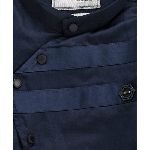 Dapper Dudes Solid Twill Roll Up Full Sleeves Shirt - Navy Blue