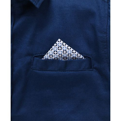 Little Kangaroos Full Sleeves Solid Color Shirt With Bow - Blue