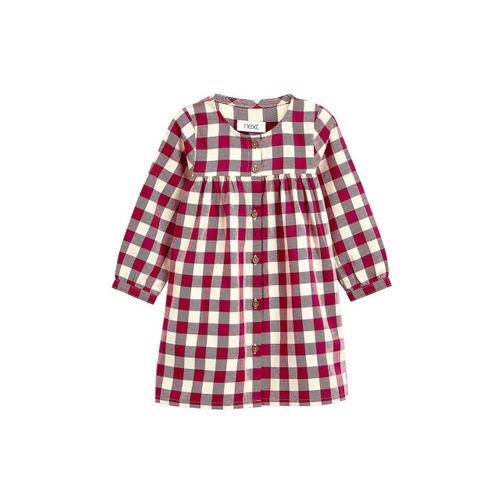 next Girls Maroon & Beige Checked Shirt Dress