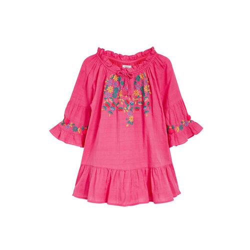 next Girls Pink Printed Drop-Waist Dress