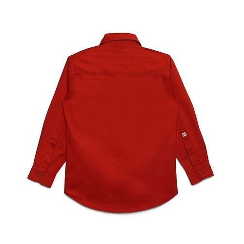 AJ Dezines Solid Front Pocket Full Sleeves Shirt - Red