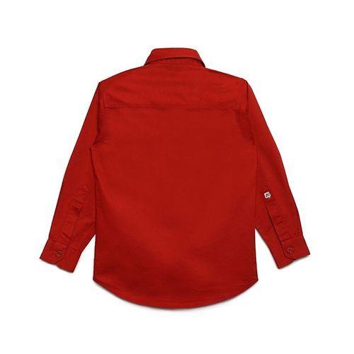 AJ Dezines Solid Front Pocket Full Sleeves Shirt - Red