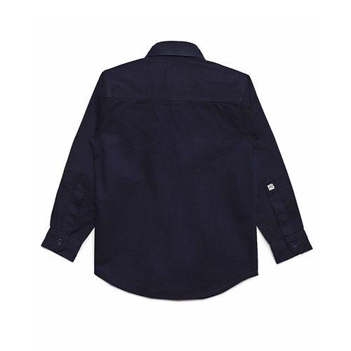 AJ Dezines Solid Front Pocket Full Sleeves Shirt - Dark Blue