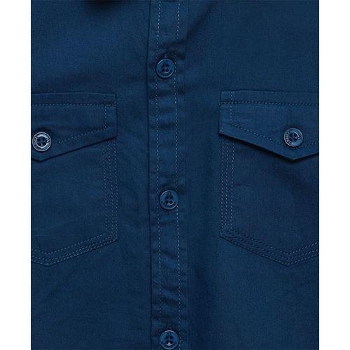 AJ Dezines Solid Front Pocket Full Sleeves Shirt - Blue