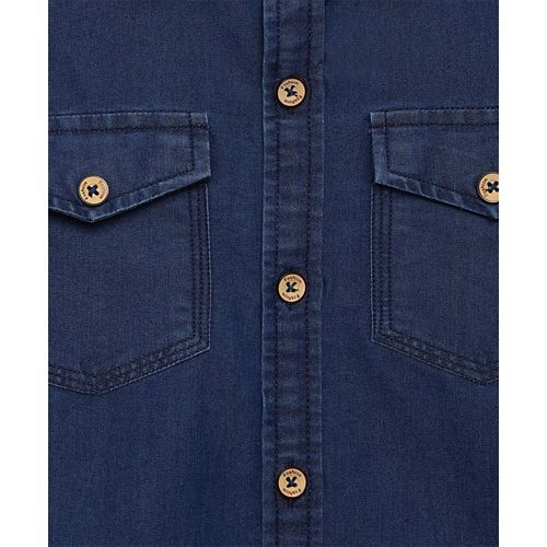 AJ Dezines Denim Full Sleeves Front Pocket Shirt - Blue