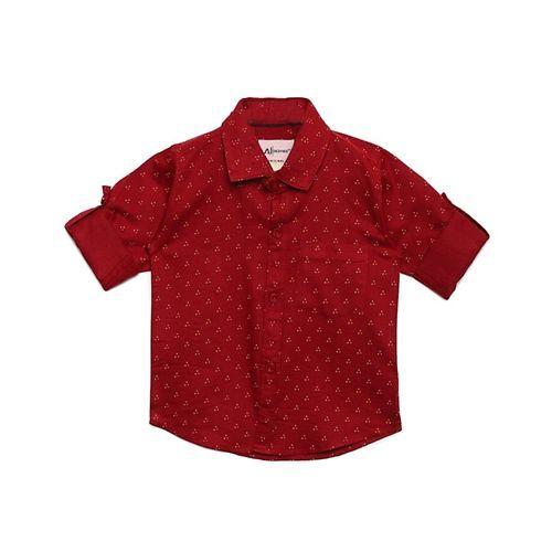 AJ Dezines Triangle Pattern Print Full Sleeves Shirt - Maroon