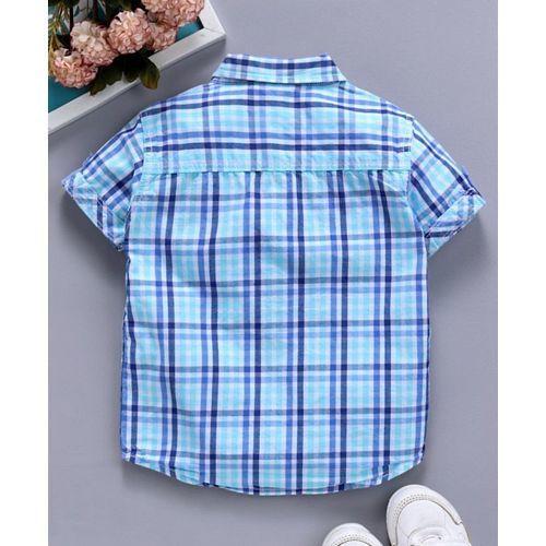 Babyhug Half Sleeves Checks Shirt - Aqua Blue