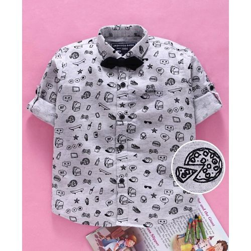 Jash Kids Full Sleeves Printed Shirt With Bow - Grey