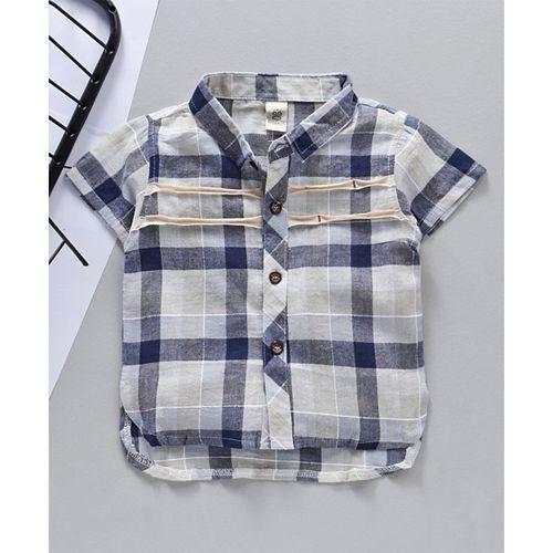 Kookie Kids Half Sleeves Checked Shirt - Grey Blue
