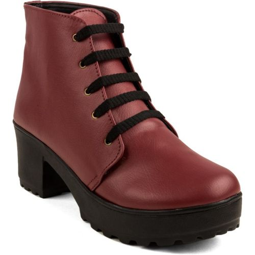 Cute Fashion Maroon Ankle Boots Boots For Women(Maroon)