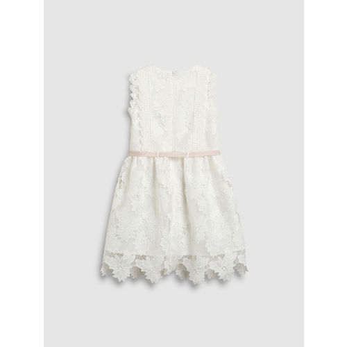 next Girls Cream-Coloured Self Design Fit and Flare Dress