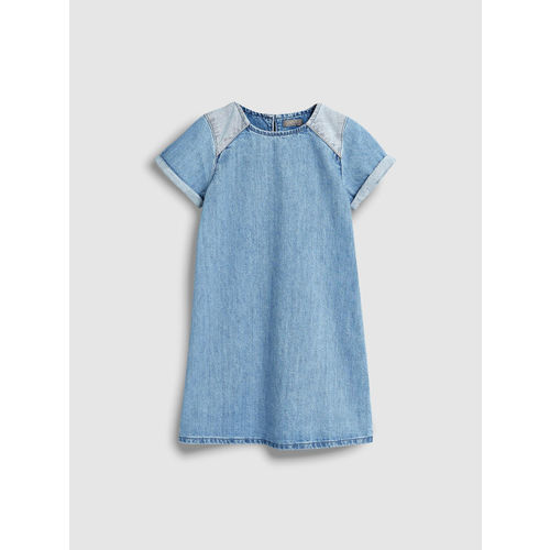next Girls Blue Solid A-Line Dress
