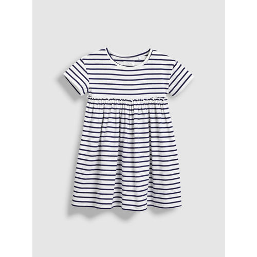 next Girls Blue Striped Fit and Flare Dress