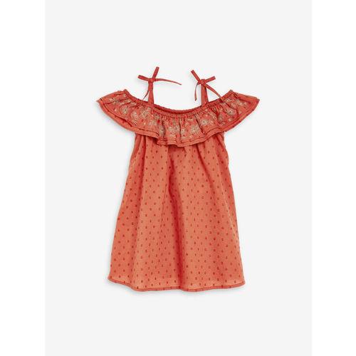 next Girls Rust Orange Self Design A-Line Dress