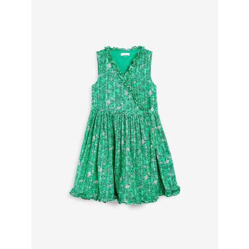 next Girls Green Printed Fit and Flare Dress
