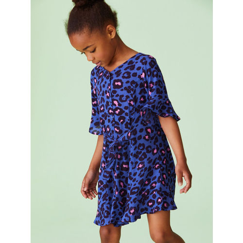 next Girls Blue Printed A-Line Dress