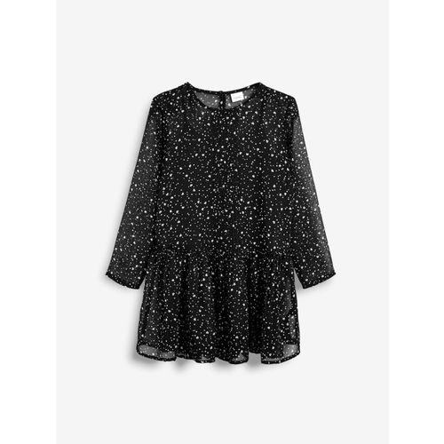 next Girls Black & Off-White Printed Drop-Waist Dress
