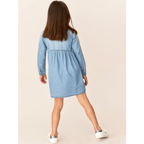 next Girls Blue Solid Fit and Flare Dress