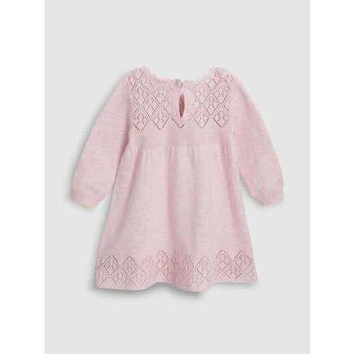next Girls Pink Self Design A-Line Dress