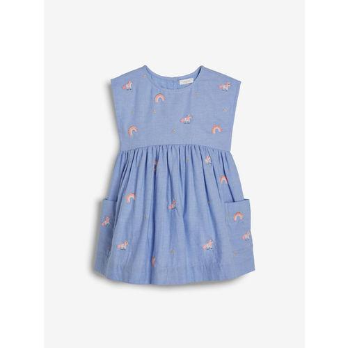 next Girls Blue Embroidered A-Line Dress