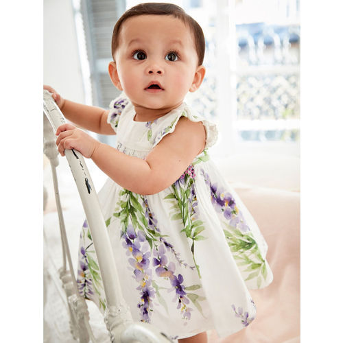 next Girls White & Purple Printed A-Line Dress