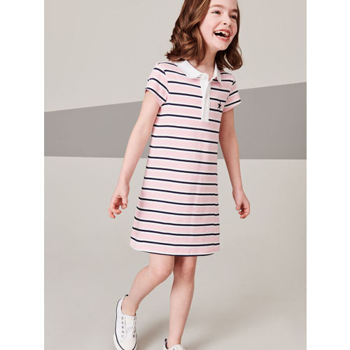 next Girls Pink Striped T-shirt Dress