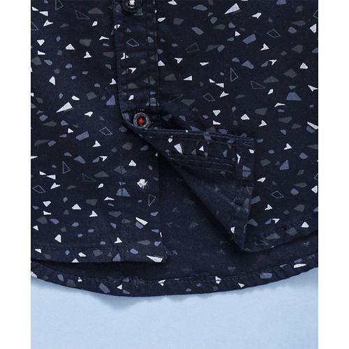 Babyhug Half Sleeves Printed Shirt With Pocket - Navy Blue