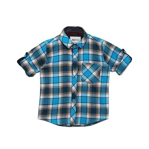 AJ Dezines Checkered Full Sleeves Shirt - Blue