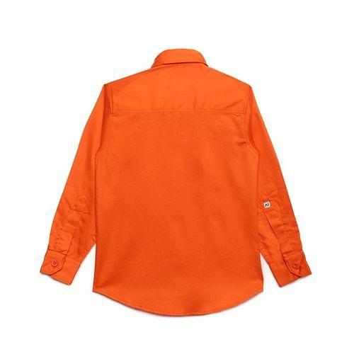 AJ Dezines Solid Full Sleeves Shirt - Orange